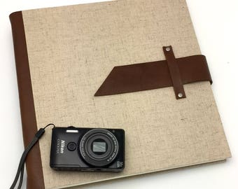 Handbound Scrapbook Album - 11x11 Leather and Linen - In Stock