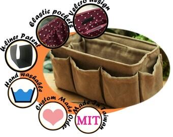 Medium purse organizer insert, bag organizer, extra sturdy, Faux Suede light brown