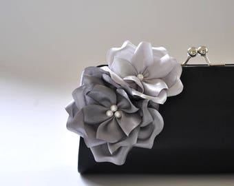 Black - Gray - Silver - Bridal Clutch / Bridesmaid Clutch - Custom clutch