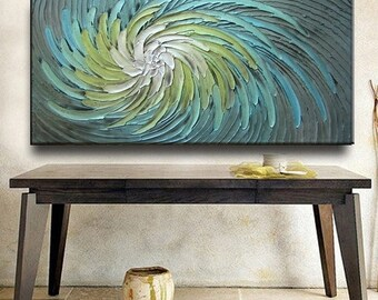 SALE Abstract Painting 48 x 24 Original Custom Heavy Texture Carved Sculpture Floral Aqua Silver Beige Modern Oil Painting by Je Hlobik