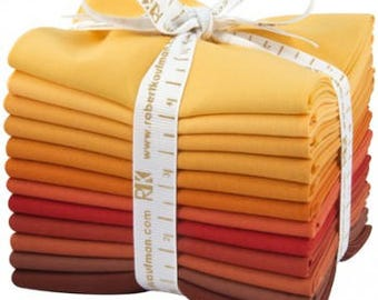Kona Cotton Solid Fabric Bundle, Fat Quarters, RATATOUILLE, Cotton Fabric, Quilting Fabric, Fat Quarter Bundle, Warm Shades, 12 Fat Quarters