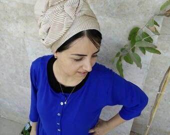 Beige head scarf, israeli tichels, jewish hair covering. headscarves by oshratDesignz