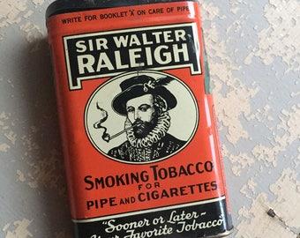 VINTAGE Sir Walter Raleigh Smoking Tobacco Tin - Tobacciana - Collectible