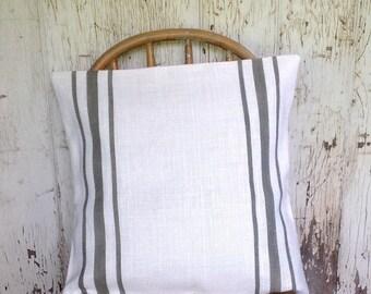 Burlap Pillow, Grain Sack Pillow Cover, Vintage Gray Striped  Urban Farmhouse Burlap Pillow