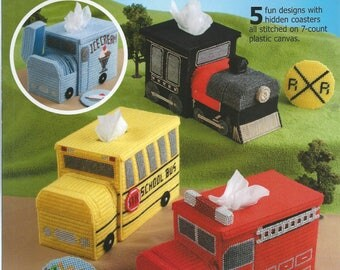 Plastic Canvas On-The-Go Tissue Toppers Plastic Canvas Coasters Plastic Canvas Schoolbus Tissue Box Cover