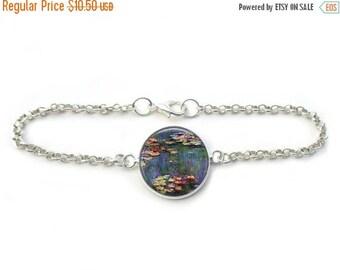 ON SALE Claude Monet Jewelry Famous Paintings Water Lilies Fine Art Chain Link Bracelet in Bronze or Silver