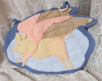 When Pigs Fly whimsical handmade felt wall hanging, piggy angel flying
