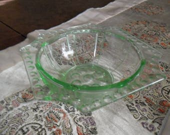 Antique Green Glass Candy Dish