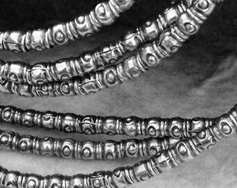 Fine Silver BOHO 3.5mm Seed Beads - 10 Spacer Beads with 2.3mm ID    Karen Hill Tribe  3.5mm OakhillSilverSupply MB95b