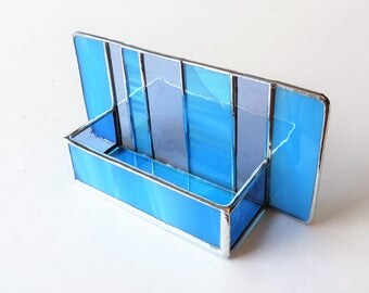 Interior Design Modern Stained Glass Desk Accessories Contemporary Business Card Holder Sky Blue Turquouise Periwinkle Purple Office Decor