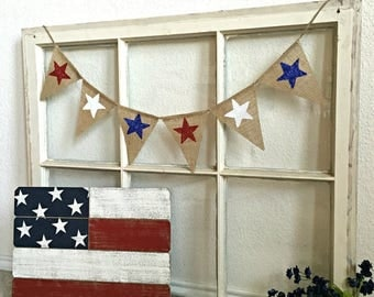 Patriotic Banner, July 4 MIni Banner, July 4th Bunting, July 4th Mini Burlap Banner, 4th July, Red White Blue, July 4 Decor, Patriotic Decor