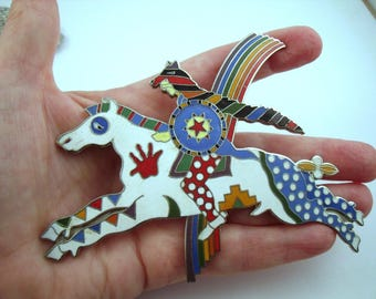 Tavlos enamel brooch Rainbow Warrior Painted Pony