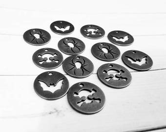 Halloween Charms Silver Charms Token Charms Tag Charms Bat Charms Spider Charms Skull Charms Halloween Tags Silver Pendants 12 pieces