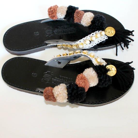 SALE!size 8-8.5 EU 39 Leather sandals womens slides womens sandals noir, sandales grecques