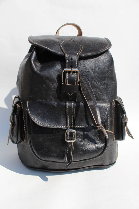 Black leather backpack, womens leather backpack, mens black leather laptop backpack sac a dos cuir