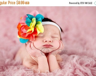 10% SALE SALE TODAY 8.99 Baby headband, newborn headband, adult headband, child headband and photography prop -Colorburst headband