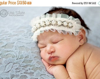 10% SALE Baby headband, newborn headband, adult headband, child headband and photography prop Pretty pearly headband