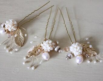 Set of 3 Bohemian hair pins, bohemian wedding accessories, couture hair pins, feather hair pins, bohemian style, rustic hair pins