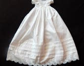 Vintage  Christening Gown English with Hand Worked Broderie Anglaise