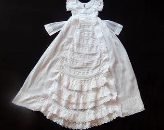 French Handmade Christening Gown with Embroidery and Waterfall Ruffles
