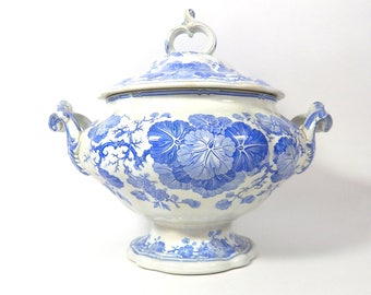Antique French Faience Transferware Soup Tureen in 'Geranium' Pattern