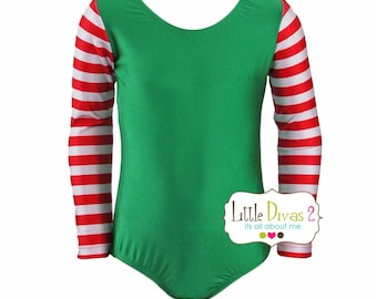 CHILD (Elf-Green)Striped Long Sleeve Leotard