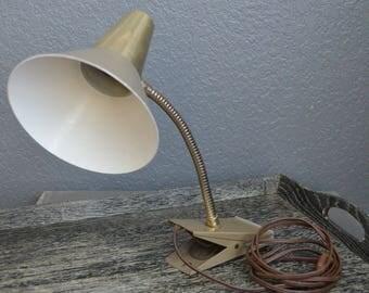 Vintage Desk Lamp Industrial Desk Lamp Tan Gold Mid Century Shop Light Garage Light Vintage Lamp Metal Sconce Clip Adjustable Neck