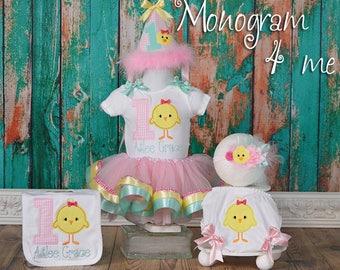 Little Chick 1st Birthday Bodysuit and Tutu, Chicken birthday, Farm Birthday tutu set, Bloomer, Bib, Hat, Headband