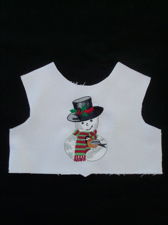 "18"" Size / Embroidered Christmas Bodice Front  / Lining Included / Sewing for 18"" American Girl Dolls"