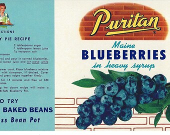 Vintage Puritan Maine Blueberries Can Label, 1950s