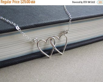 SALE - Interlocking Silver Heart Necklace, Mothers Necklace, Two Hearts Necklace, Couples Necklace, Heart Jewelry, Double Heart Necklace, Wi