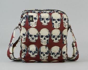 Anatomical Skulls Small Crossbody Bag with Zipper Closure, Dark Rust Red, Cream Color Skulls
