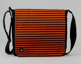 Orange and Black Stripe Medium Size Canvas Messenger Bag, with Purple Pockets, Zipper iPad Tablet Phone Pockets, Ready To Ship