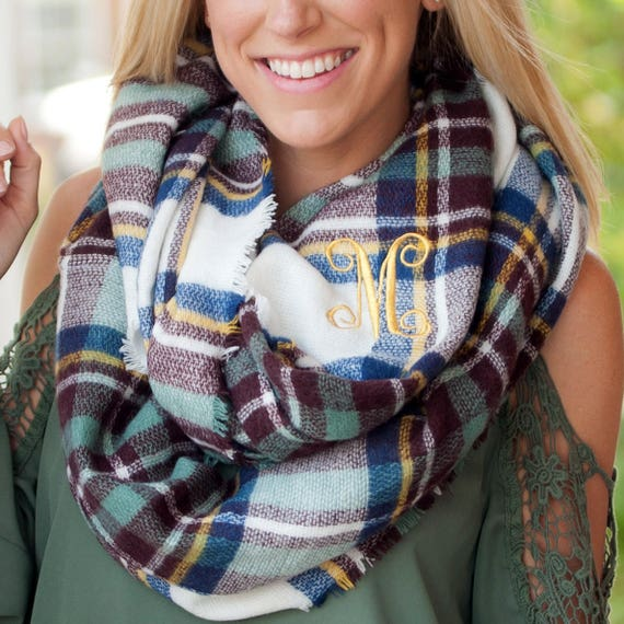 Londyn Infinity Scarf in Blue and Wine Plaid