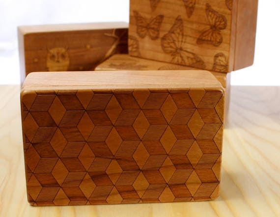 Cube Pattern Wooden Storage Box 5-3/8 x 3-3/8, SB1 Cube, Solid Cherry -Laser Engraved, Paul Szewc, Masterpiece Laser