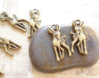 100 Bulk Deer Charm Pendant Antiqued Bronze Drop 19x7mm SB-447