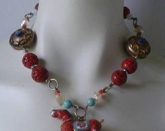 Vintage Summer Necklace / Horse coral / malachite / lapis lazuli / turquoise / beads / brillants / enamel