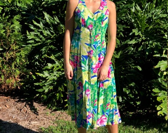 Vintage 1990s JONI  BLAIR tropical floral criss-cross button-down maxi dress, size Medium