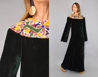 70's Embroidered Velvet Maxi Dress