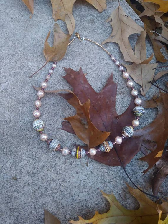 Pearl and paper necklace- pale pink and white- statement piece