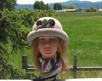 Knit Felt Brimmed Bowler Crusher Hat Beige Mink heather Mod Pin