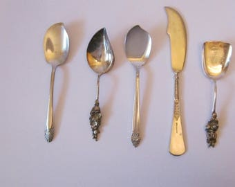 5 Shabby Elegant Mixed Serving Utensils - Reed & Barton - Crown Silverplate - Community Plate - Jelly Spoons Butter Knife and Sugar Shovel