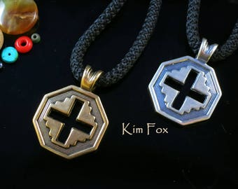 Well Balanced Cross in Golden Bronze or Sterling Silver - A blend of east and west with a little southwest thrown in for the handsome cross