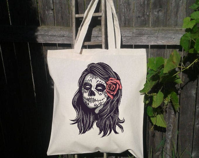 Sugarskull Tote Bag, Reusable Tote Bag, Grocery Bag, Sugar Skull, Day of the Dead, Mexico