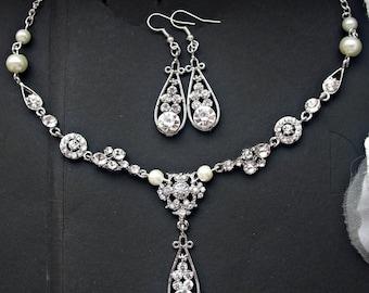 Bridal jewelry set bridal earrings bridal necklace pearl earrings pearl necklace wedding jewelry set wedding earrings wedding necklace set