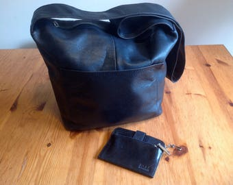 Large Hobo International black large soft leather handbag with wallet in black