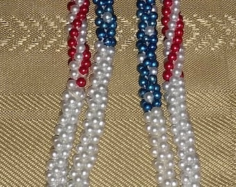 Vintage Beaded Patriotic Lariat Necklace Red White Blue Flapper Style American Flag Pattern Colors America USA Color Beads Neck Wrap Around