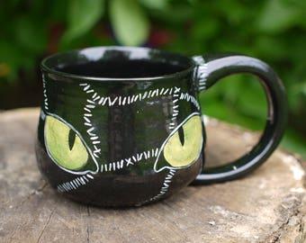 Halloween Pottery Mug, Hand Made Catwoman Mug, Black Cat Coffee Cup, Cat Woman Ceramic Mug, Hand Painted Cat Eye Wheel Thrown Mug, Christmas