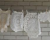 mixed doily destash, cream doilies, creamy, off white doilies, table decor,dresser mat, vintage crocheted doilies,cottage decor, imperfects