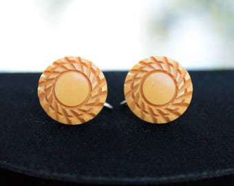 Butterscotch Bakelite Earrings, Nicely Carved